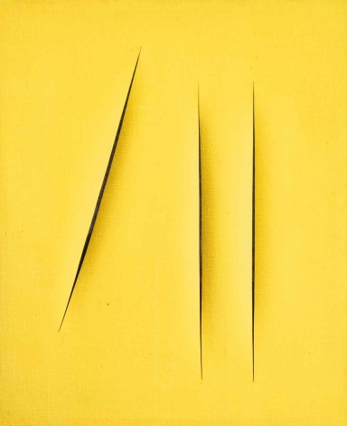 yellow painting by lucio fontana with slits