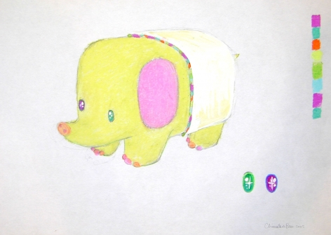 small yellow creature with pink ears by chinatsu ban