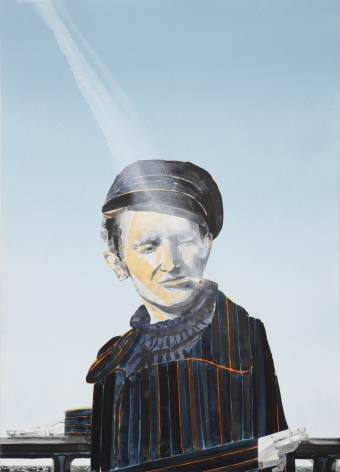 a painting of woodie guthrie by barnaby furnas in a contemporary art gallery for sale