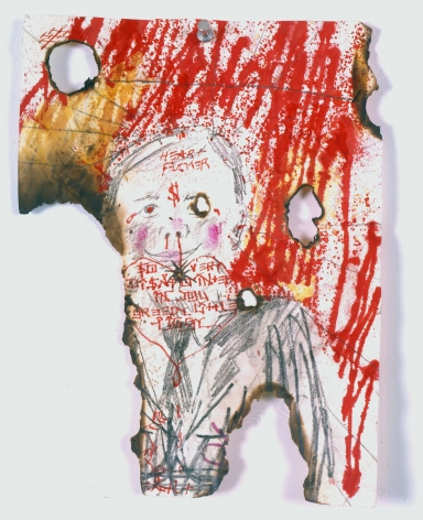 Heart Fucker (Effigy X- XIII), 2006, Dye, bleach, spit, ink, graphite, photocopy on soiled, punctured, crumpled burnt and folded paper