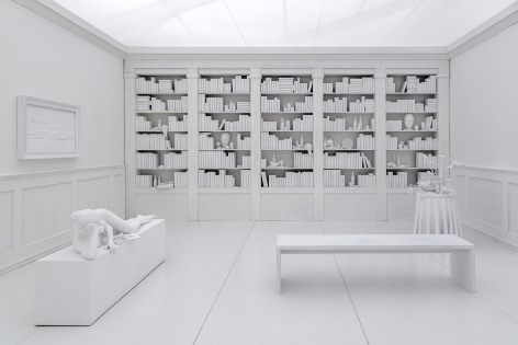 a library diorama by Hans Op de Beeck in an exhibition in an art gallery