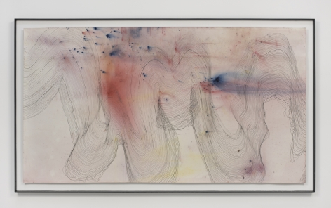 a painting with graphite and pigment by jay heikes exhibited in a nyc gallery