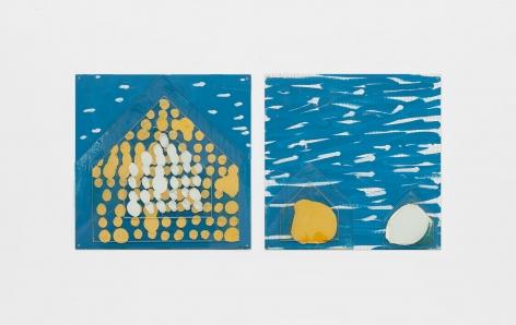 Seaside Houses, 2000, Enamel over silkscreen grid on baked enamel, steel plates