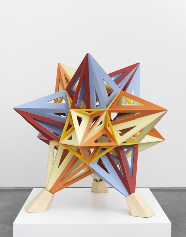 a small colorful star sculpture made by frank stella available for purchase at marianne boesky gallery