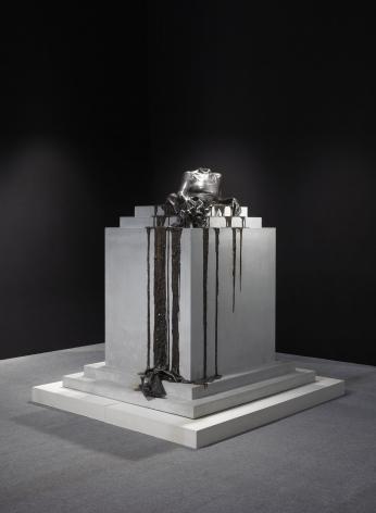 a bronze sculpture of a female body by Diana Al-Hadid