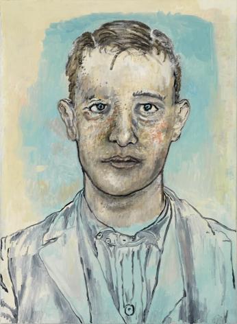 portrait of a man in blue by hannah van bart