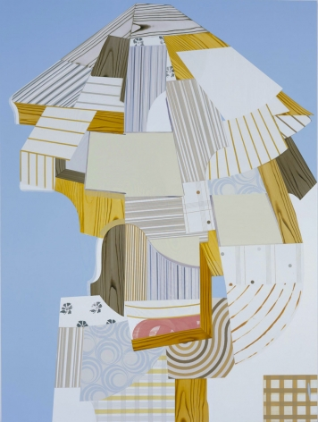abstract painting with logs and blue and brown patterned shapes by kevin appel