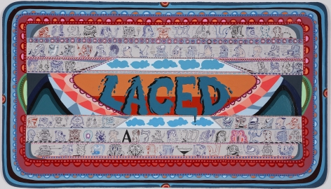 Laced, 2008, Acrylic and ink on paper