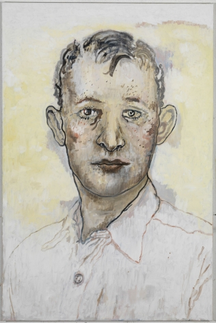 portrait of a man with a yellow background by hannah van bart