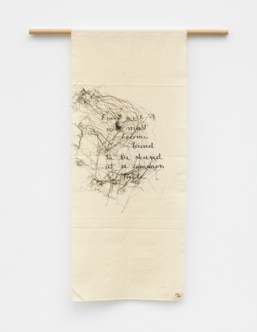 an embroidery work of art with a poem by fiber artist maria lai