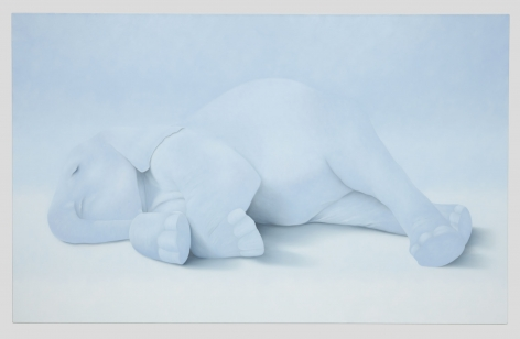 painting of an elephant lying down by ivette zighelboim