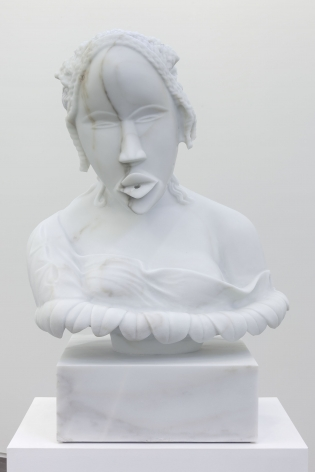 a contemporary white marble sculpture inspired by a traditional African sculpture by Sanford Biggers