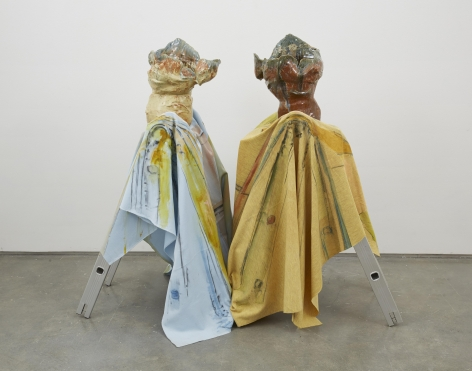 a ceramic sculptural installation by jessica jackson hutchins exhibited in a nyc gallery