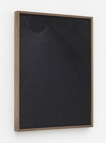 Untitled (Etched Plaster), 2015 [side view], Medium coated pigmented hydrocal in walnut frame