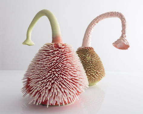two pink accretion sculptures by the Haas Brothers for sale