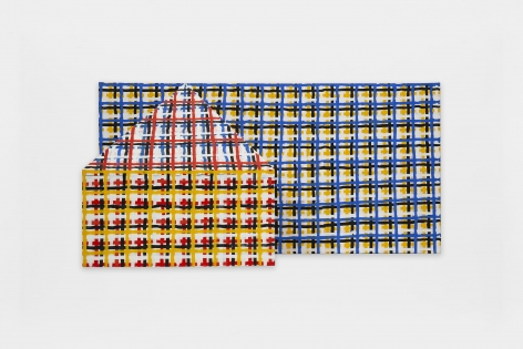 3-D House, Grid, 1998-99, Oil on canvas and wood