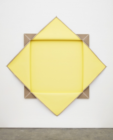a folded painting by donald moffett featuring brown and yellow squares - a geometric contemporary artwork