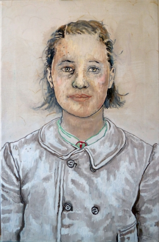 portrait of a woman in a grey coat by hannah van bart