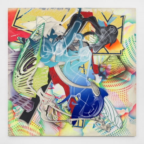 Large collage painting with abstract shapes comprised of smoke rings by Frank Stella