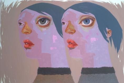 double portrait of women with purple faces