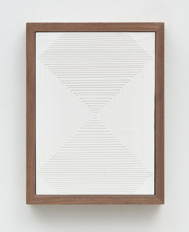 Untitled (Four Part Etched Plaster), 2015 [detail 1 of 4], Pigmented hydrocal in four walnut frames