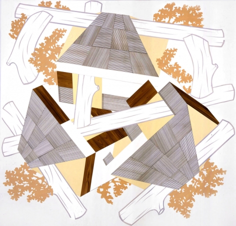 Abstraction by Kevin Appel with logs and yellow panels