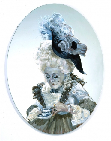 blue roundel of elderly woman with tea cup by rachel feinstein