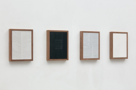 Untitled (Four Part Etched Plaster), 2015 [side view], Pigmented hydrocal and medium coated pigmented hydrocal in four walnut frames