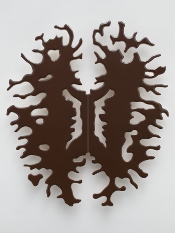 Lot 082019 (cocoa brain), 2019, Pigmented epoxy resin on wood panel support, steel