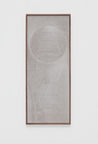 an etched plaster artwork by anthony pearson in an exhibition at a contemporary art gallery