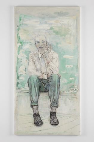 a contemporary figure painting of a man seated and smoking by artist Hannah van Bart