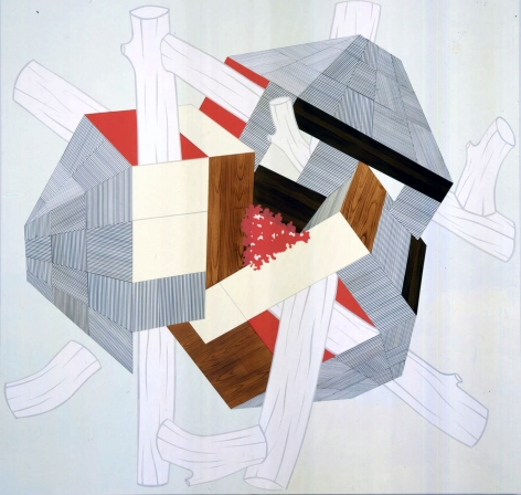 Abstraction by Kevin Appel with logs and red, grey, and off-white geometric designs