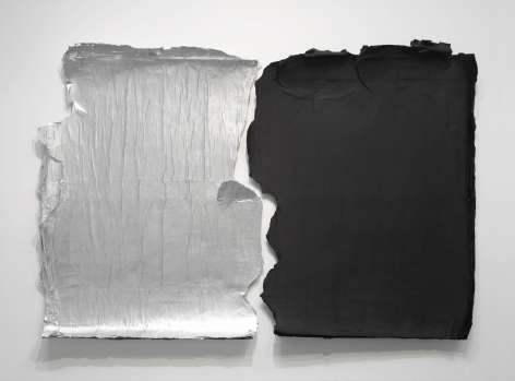 silver and black panels peeling off the wall by jeroen jongeleen