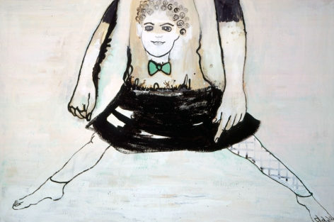 painting of a woman in a skirt with a face on her torso by hannah van bart