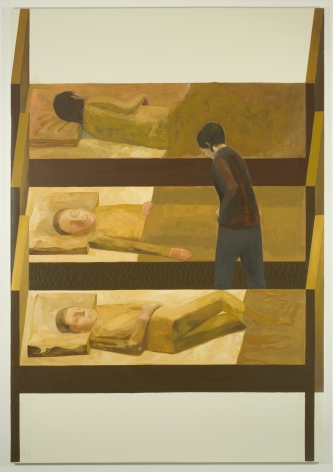 painting of three men in bed and a fourth standing up by jesse chapman
