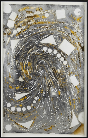 Mindy Shapero, Mosaic Drawing (Black, Yellow, Silver, Paper and Holes), 2009