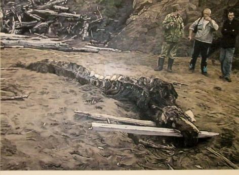 men uncovering a fossil by kon trubkovich