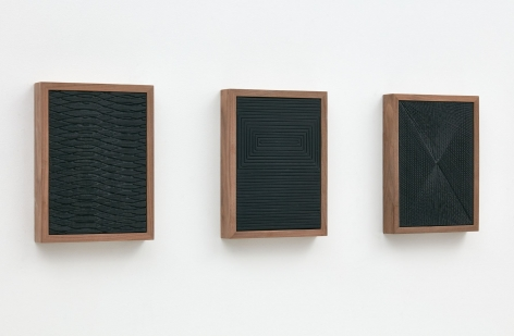 Untitled (Etched Plaster Triptych), 2015 [side view], Medium coated pigmented hydrocal in three walnut frames