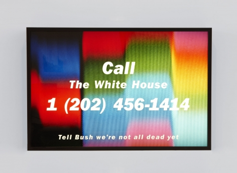artist donald moffett's digital political art telling people to call the white house