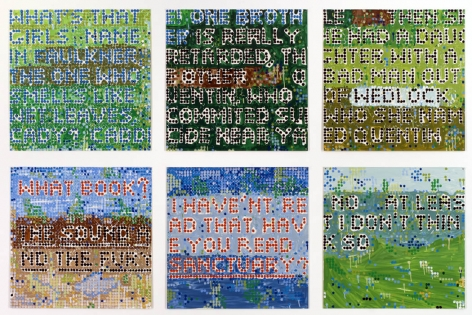 a series of colorful enamel silkscreen tiles in a grid by the formalist artist Jennifer Bartlett