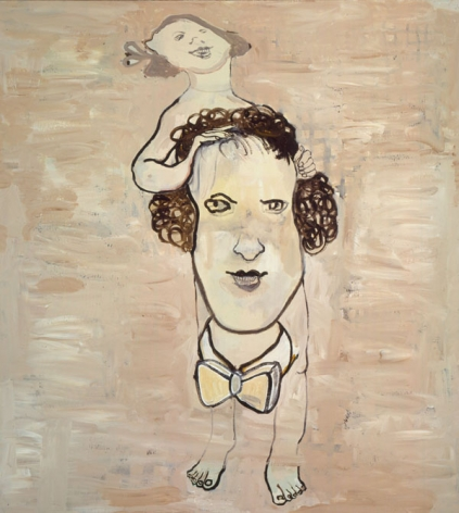 portrait of a woman with two heads by hannah van bart