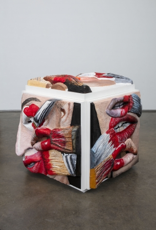 Cube with multiple extruded paintings of lips, brushes and faces by Gina Beavers