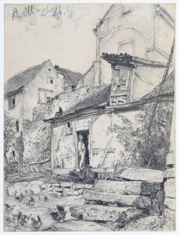 ADOLPH VON MENZEL (Breslau 1815-1905 Berlin), Wirtschaftshof bei Kloster Aura bei Kissingen, 1884
