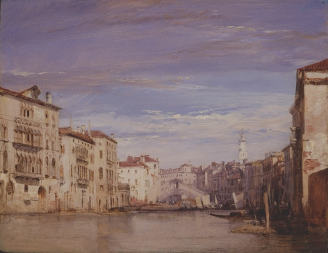 RICHARD PARKES BONINGTON, (British, 1802-28), The Grand Canal Looking toward The Rialto,1826