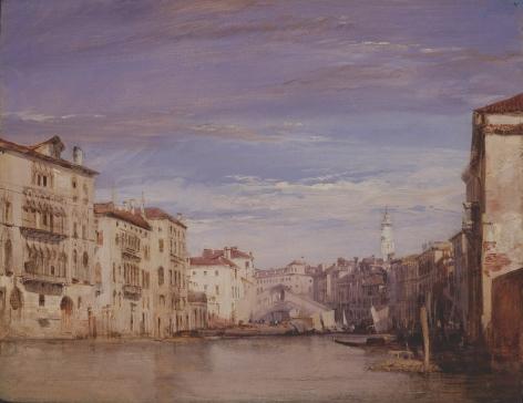 RICHARD PARKES BONINGTON, (British, 1802-28), The Grand Canal Looking toward The Rialto,1826