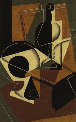 Juan Gris, Moulin à café et Bouteille, 1917 Oil on board laid down on cradled panel 61 x 38 cm. (24 x 15 in.) This painting is in brown yellow bordeaux and black tons, it represents in a cubist manner a bottle and a coffee grinder.