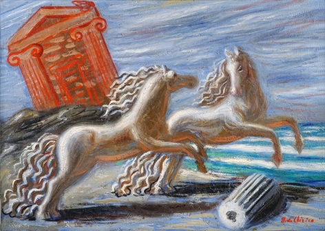 Giorgio de Chirico, Cavalli Antichi, 1927 Oil on canvas 32.5 x 45 cm. (12 3/4 x 17 3/4 in.) ©Helly Nahmad Gallery NY