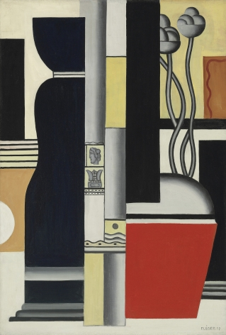 Fernand Léger, Nature Morte, 1927 ​Oil on canvas 130.2 x 88.9 cm. (51 1/4 x 35 in.)  A vertical divide bisects the canvas of Nature morte into two unequally sized sections. The presence of two objects dominates the composition: a squat red pot of flowers on the right hand side, offset on the left by the visible portion of a tall black vase.  The flowers are ostensibly the only organic element in the present composition, yet they appear artificial; like everything else in the painting, their material substance has been reduced and purified, as if tooled and polished by means of a high-tech industrial process. Léger has reinforced the chosen vertical format of this composition by employing numerous straight up-and-down elements, using the curved lines and contours in the flowers, pot and vase to counteract and mitigate the overall geometric rigidity of the composition. By suggesting the presence of a floor or table-top in the foreground, Léger has created an illusion of receding space, into which the graphically flat rectilinear forms that comprise the setting fall into place, establishing the spatial schematic of an interior, with a mirror over a mantelpiece on the right, and a window at left. Contrasting objects both large and small, Léger has affixed his images of two French postage stamps to the axial column near the center of the composition. The painter has emphasized the hardness of his forms by rendering them in an austere palette based on the stark opposition of red and black, mediated in places by pale yellow, supplemented with two diagonally opposed patches of an earthy mauve tone. There are tensions of all kinds within this canvas--nonetheless, the architectural grandeur of Léger's overall conception steadies the composition and expresses a transcendent vision of stasis and serenity.