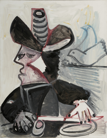 Pablo Picasso, Mousquetaire aux Oiseaux II, 13 January 1972, 1972 Oil on canvas 146 x 114 cm. (57 1/2 x 44 7/8 in.)  This painting represents a man wearing a hat and holding a sword, it represents a mousquetaire. There is two birds painted only with one line on the right side of the canvas.