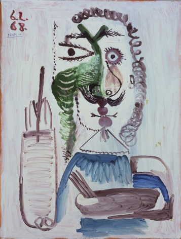 Pablo PIcasso, Le Peintre, 6 February 68, 1968. This painting represents the portrait of a painter holding a brush in his right hand.